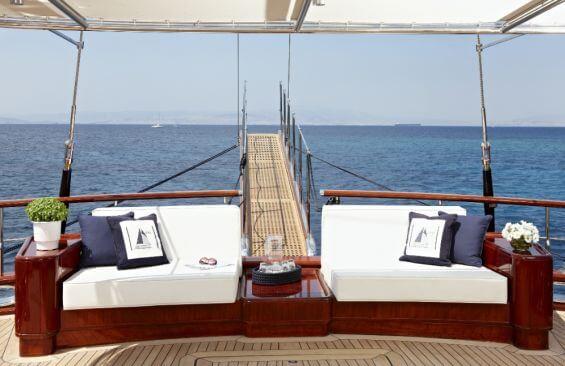 Classic Motor Sailer Yacht Iraklis L Aft Deck Seating