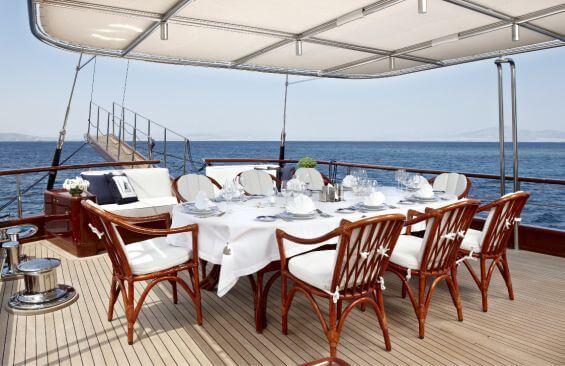 Classic Motor Sailer Yacht Iraklis L Dining On Deck
