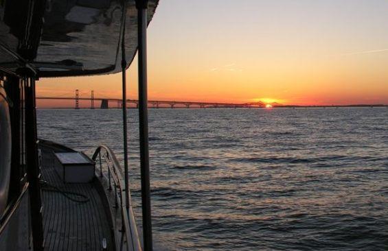 Classic Motor Yacht America Sunset