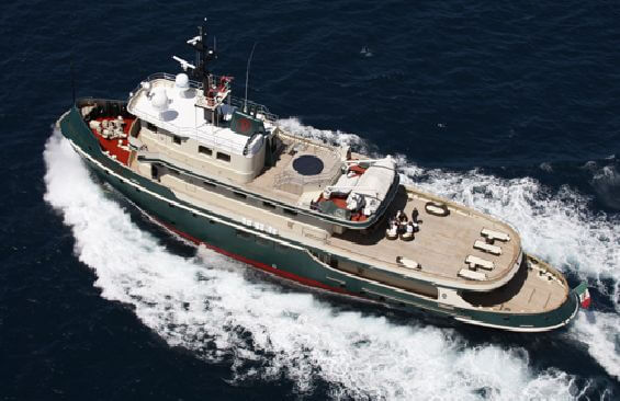 Classic Motor Yacht Ariete Primo Aerial View