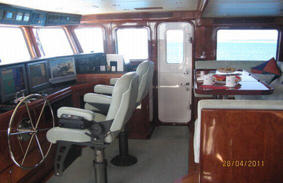 Classic Motor Yacht Beyond Capricorn Wheelhouse