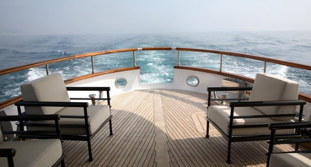 Classic Motor Yacht Happy Hour Aft Deck