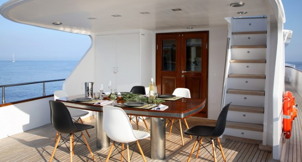 Classic Motor Yacht Happy Hour Dining Aft Deck