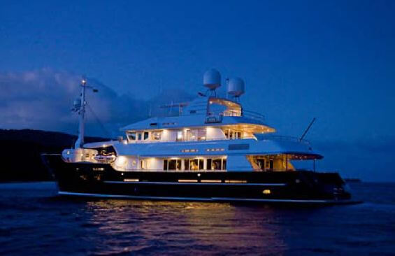Classic Motor Yacht Koi Anchored Overnight