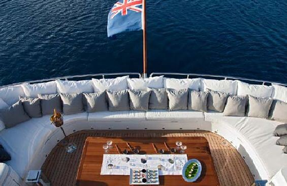 Classic Motor Yacht Koi Stern Deck Horseshoe Seating Area