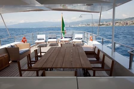Classic Motor Yacht Marhaba Aft Deck Dining
