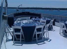 Classic Motor Yacht Mariner III Aft Deck Dining