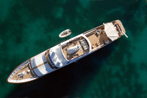 Classic Motor Yacht Mirage Aerial View