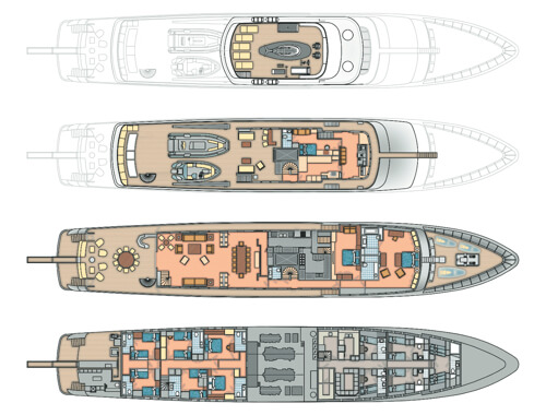 Classic Motor Yacht Mirage Deck Plans
