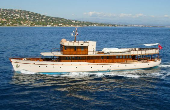 Classic Motor Yacht Over The Rainbow Port Side
