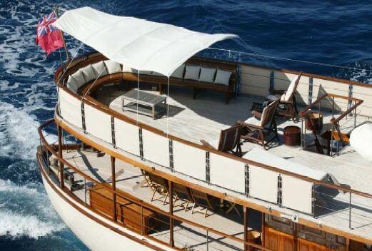 Classic Motor Yacht Over The Rainbow Stern Decks