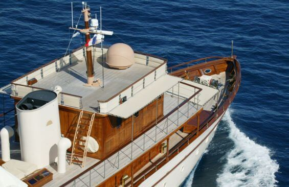 Classic Motor Yacht Over The Rainbow Under Power