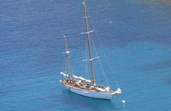 Classic Sailing Yacht Alzavola Anchored