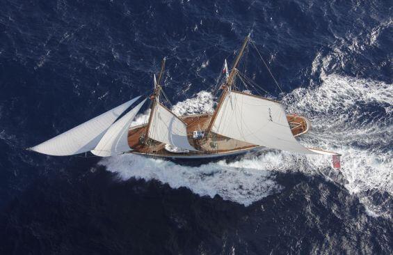 Classic Sailing Yacht Elena Aerial View