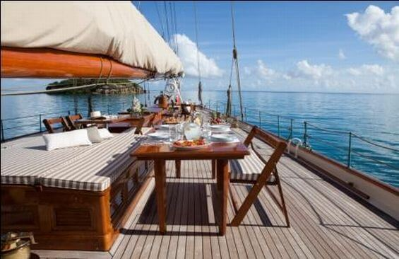 Classic Sailing Yacht Elena Dining On Deck