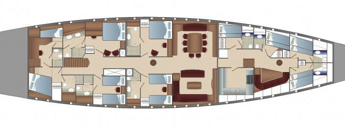 Classic Sailing Yacht Elena Layout