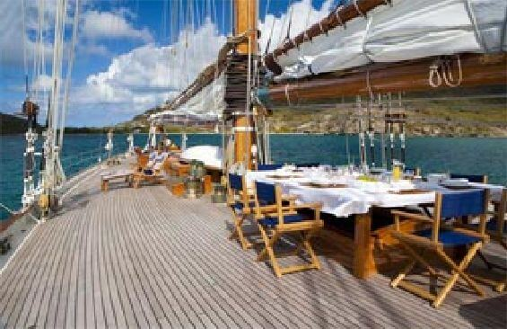 Classic Sailing Yacht Eleonora Dining On Deck