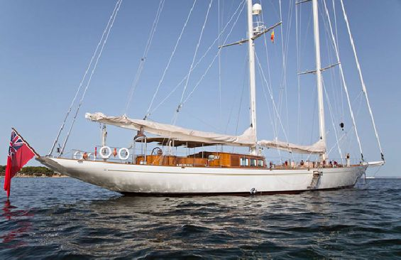 Classic Sailing Yacht Gweilo Anchored