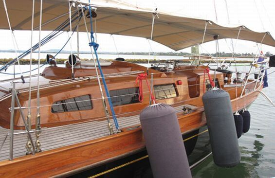 Classic Sailing Yacht Haparanda Fenders Out