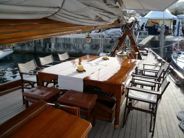 Classic Sailing Yacht Moonbeam IV Dining on Deck