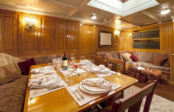 Classic Sailing Yacht Shamrock V Dining Room