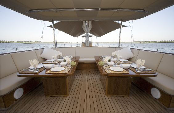 Classic Sailing Yacht Tiziana Dining On Deck