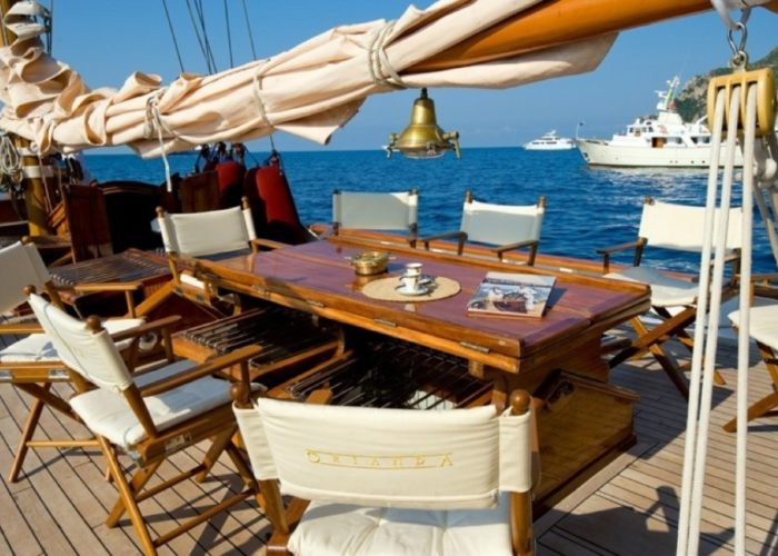 sailing yacht Orianda deck table