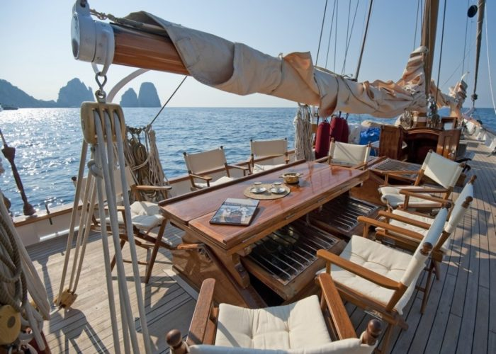 sailing yacht Orianda on deck dining