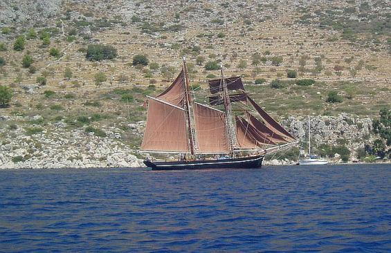 Tall Ship Rhea Under Sail