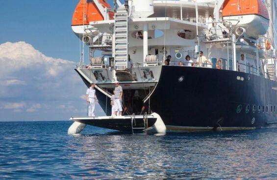 Tall Ship Running On Waves Bathing Platform
