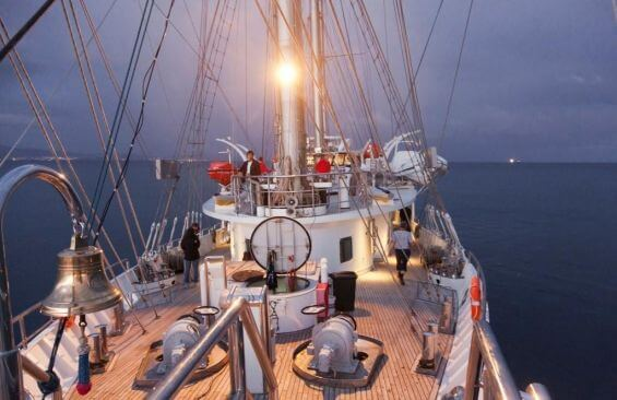 Tall Ship Running On Waves Foredeck