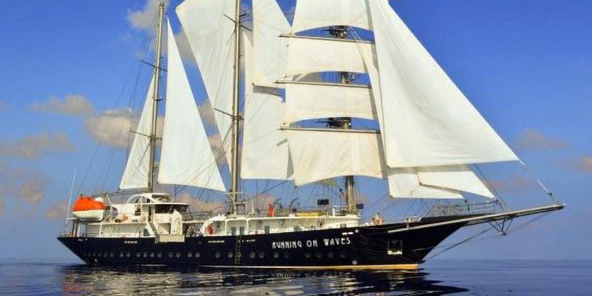 Tall Ship Running On Waves