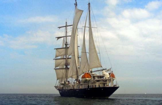 Tall Ship Running On Waves Stern