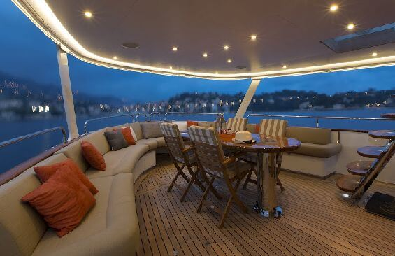 Classic Motor Yacht Sultana Dining On Aft Deck
