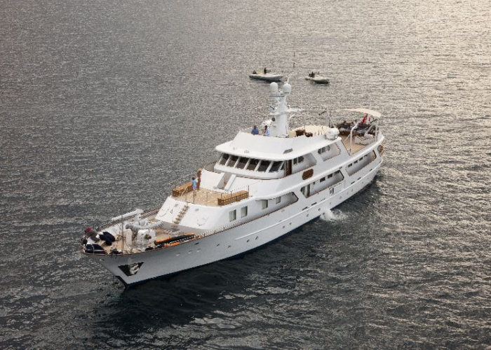 Classic Motor Yacht Lalibela Aerial Forward View