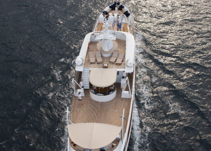 Classic Motor Yacht Lalibela Aerial Stern View