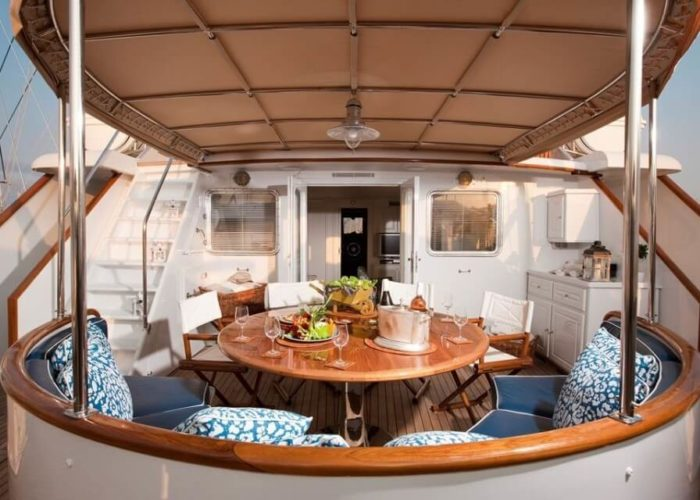 Classic Motor Yacht Lalibela Stern Deck Dining