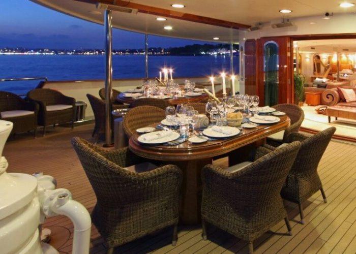 Classic Motor Yacht Sherakhan Aft Dining