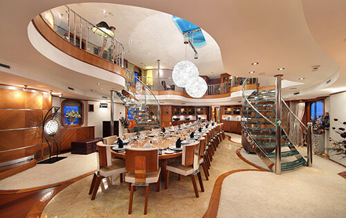Classic Motor Yacht Sherakhan Dining Room