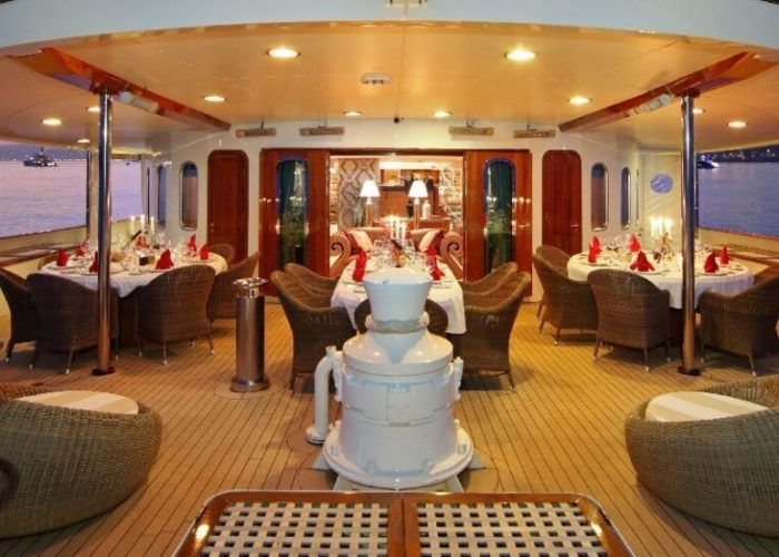 Classic Motor Yacht Sherakhan Lower Aft Deck