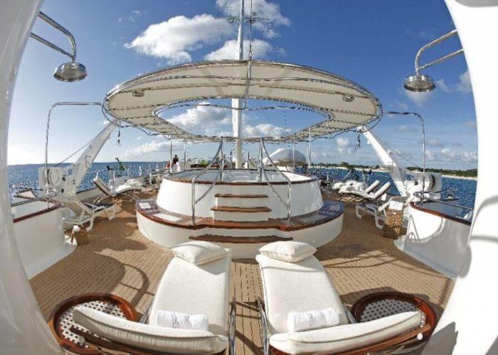 Classic Motor Yacht Sherakhan Top Deck Jacuzzi