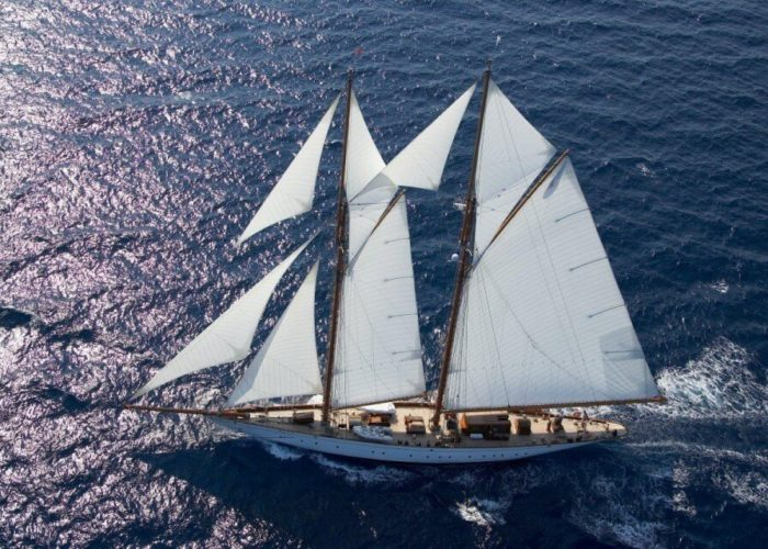 Classic Sailing Yacht Germania Nova Aerial View