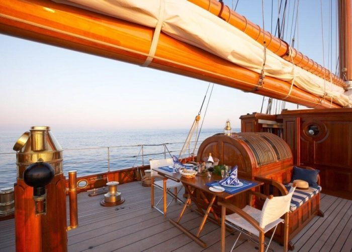 Classic Sailing Yacht Germania Nova Breakfast On Deck