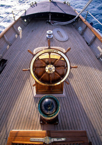 Classic Sailing Yacht Sincerity Wheel And Compass
