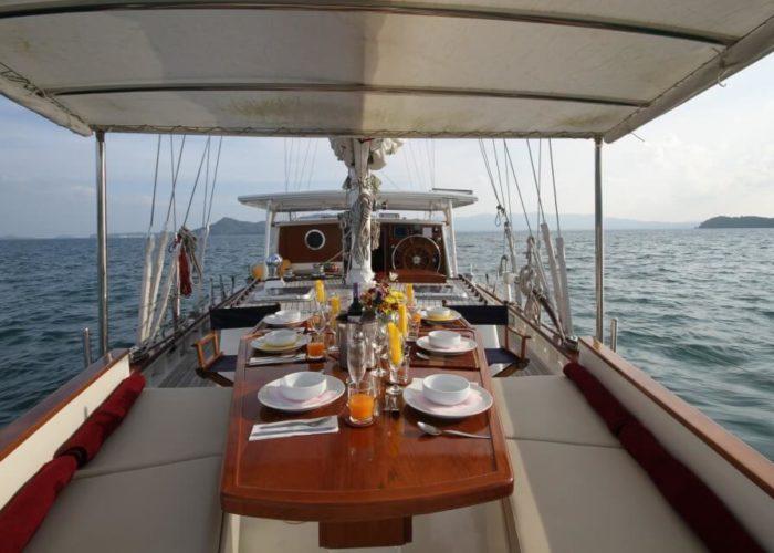 Classic Sailing Yacht Meta IV Dinner Table