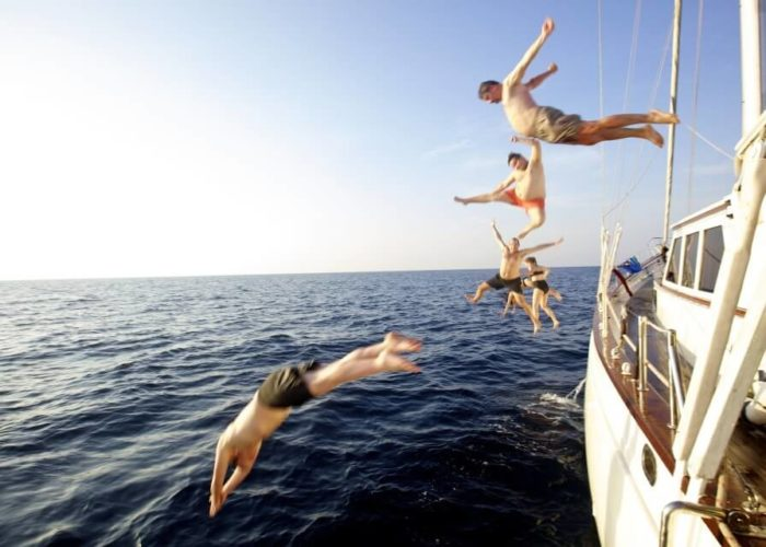Classic Sailing Yacht Meta IV Diving Into Water