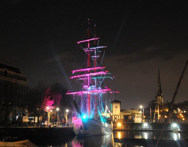 Tall Ship Kaskelot Lit Up