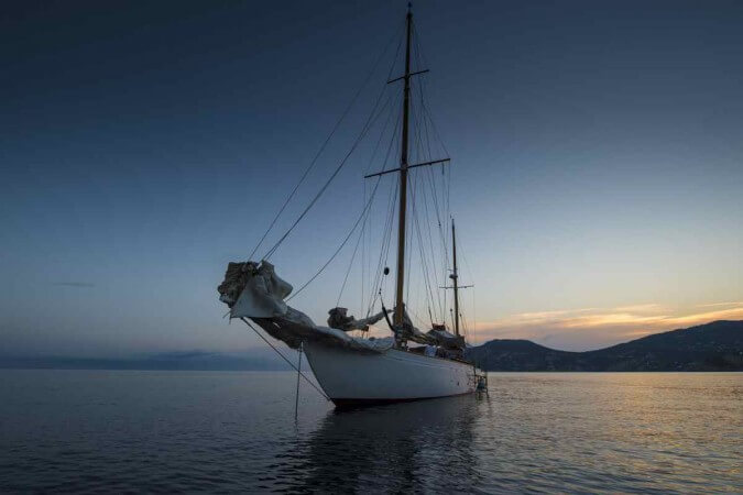 Classic Sailing Yacht Gladoris II Anchored