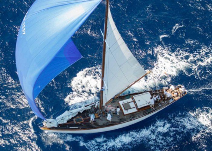 Classic sailing yacht Yanira flying spinnaker