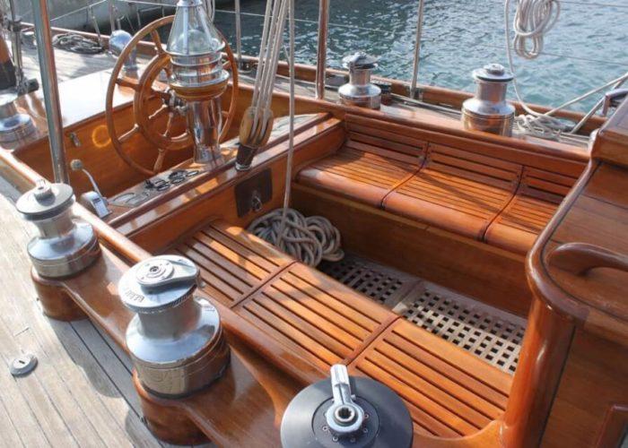 Classic Sailing Yacht Ivanhoe Cockpit Aft